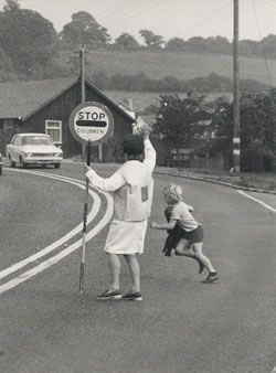 The new bypass avoided the need for a Lollipop Lady! (photo courtesy A O'Donnell). The 'wooden' building in the background is the Village Institute.